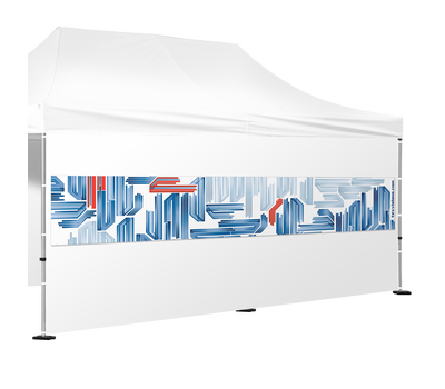 Interchangeable banners are a great way to advertise promotions on blank tent walls