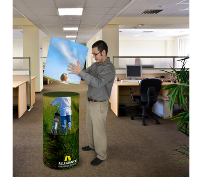 Because it has a lightweight foam core, your client can stack multiple cylinders to make an advertising column.