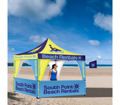If your client is taking their tent on the beach, the Advertising Tent Flag is great for drawing extra attention