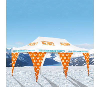 Your client can take their tent banners to the slopes and not have to worry about them being affected