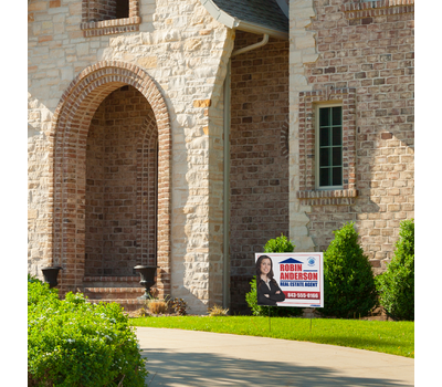 Yard signs with full color image print can be used to promote a property sale