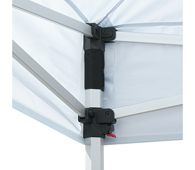 Push levers on the tent legs allow the height to be adjusted to several settings