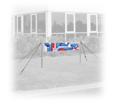 1.0' high Banner with Outdoor Banner Post Set