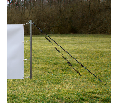 Banner stays taut at all times thanks to heavy duty cord and galvanized steel stakes