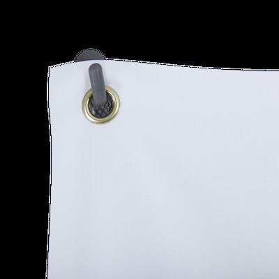 The corner grommets of the custom print slide over the pole hooks for easy installation
