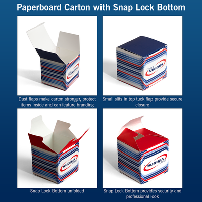 Paperboard Carton with 1-2-3 Snap Lock Bottom explained