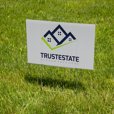 Real estate sign with H-stake hardware option
