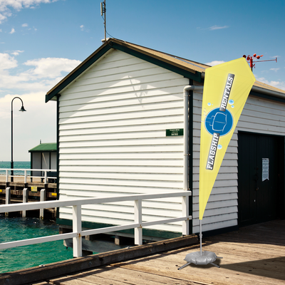 Example of a flag mounted onto a fishing dock