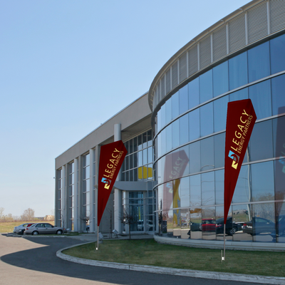Razor flag displayed outside of a corporation