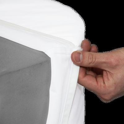 The custom print slips onto the Display Cylinder's foam core like a pillowcase for easy setup