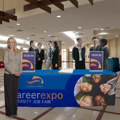 Make an impression with custom printed table covers at trade shows, exhibits and other functions