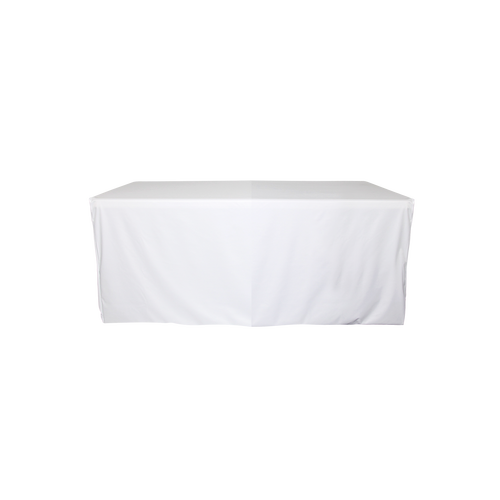 White fitted table cover