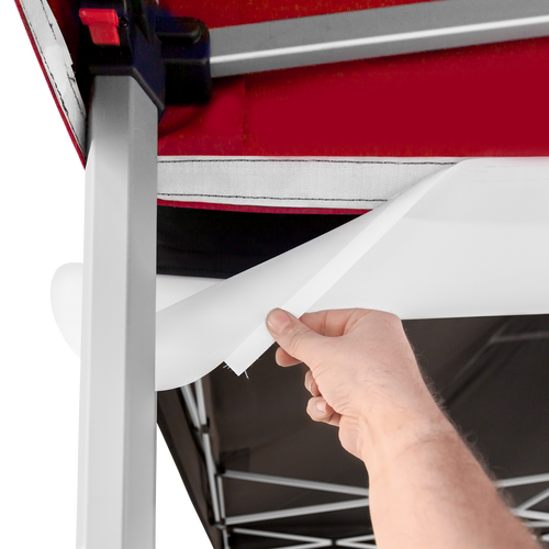 Secure the gutter to the canopy with the hook-and-loop fastener