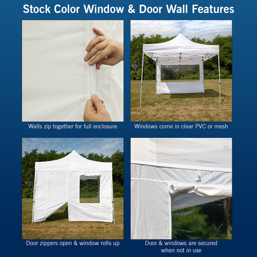 Features of our stock color walls with windows and doors