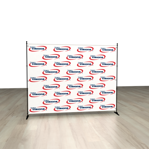Your client's banner can be displayed on the optional adjustable backdrop hardware kit