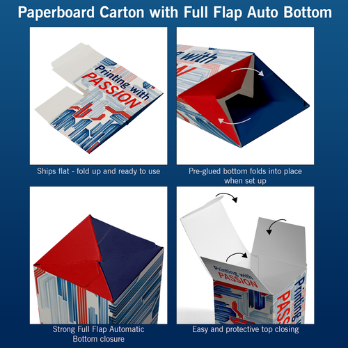Paperboard Carton with Full Flag Automatic Bottom explained