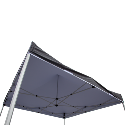 White canopy liner installed on tent frame creates an opaque ceiling (liner is not reversible)