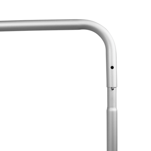 The aluminum poles have a snap and click feature so the frame can be set up in seconds without the use of tools