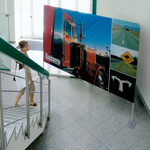 The display can be ordered in sizes up to 10' wide