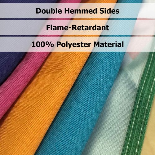 Table covers are made of premium, flame retardant material, and feature hemmed sides.