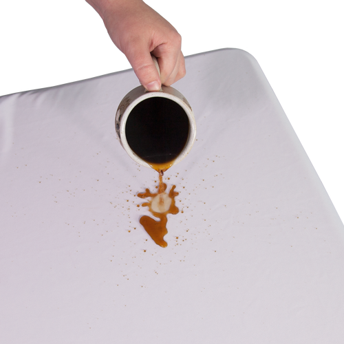 The polyester fabric instantly repels liquids